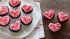 Show your loved ones how much you care by whipping up a batch of these adorable heart-shaped cupcakes.