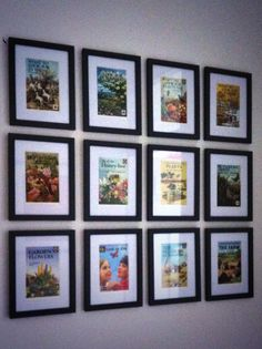 Ladybird book covers and spray painted frames for my new gallery wall. Spray Paint Frames, Painted Frames, Vintage Travel Bedroom, Picture Wall, Picture Frames, Ladybird Books, Book Wall, Upcycled Crafts, Book Design