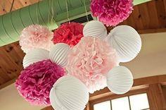 SUNBEAUTY Pacchetto 9 pezzi Pom Pom piega grigio fiori e decorazioni lanterna di nozze celebrazione anniversario festa di compleanno di San Valentino Pasqua