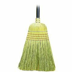 """Warehouse Broom, Yucca/Corn blend, 42"""" long for light duty sweeping, 1 Dozen per Box by Unisan. $109.20. For heavy-duty sweeping. Heavy metal band with four rows of stitching for strength and durability. 42"""" long, 1-1/8"""" diameter lacquered wood handle. Sold by the dozen."""