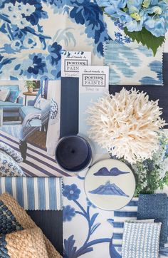 It's been a flurry of activity around here lately as I organise my home studio. (Yes I realise it's totally right now, but I've… Blue And White Fabric, Kitchen Window Treatments, Blue Crush, Interior Paint Colors, Interior Design, Fabric Rug, May Flowers, Colour Board, Different Patterns