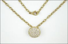 A DIAMOND AND 18 KARAT YELLOW GOLD PENDANT NECKLACE. Lot 150-7114 #jewelry