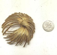 Rare Vintage Estate 70s Monet Modernist Textured Gold Tone Brooch Pin Costume   | eBay
