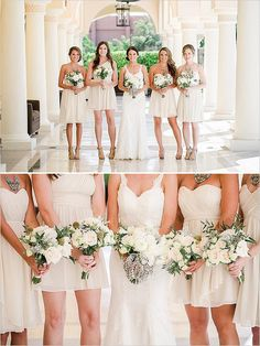 cocktail length dresses | bridesmaids dresses | destination wedding | bridesmaids bouquets #weddingchicks #bridesmaiddresses