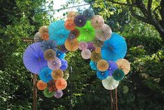 Pinwheel wedding arch or could make use of this idea inside. Gazebo Decorations, Arch Decoration, Wedding Decorations, Pinwheel Wedding, Diy Pinwheel, Ceremony Arch, Outdoor Ceremony, Ceremony Seating, Couleur Rose Pastel