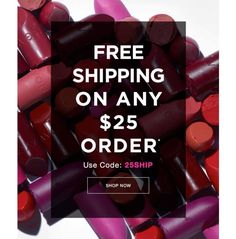 *Free shipping offer valid for mail delivery order only. To redeem, select standard shipping and enter coupon code: 25SHIP, expires 11:59 PM PT, 7/19/2018. Offer does not apply to express shipping methods and is valid only for shipping addresses in the contiguous United States. http://go.youravon.com/33p8fm