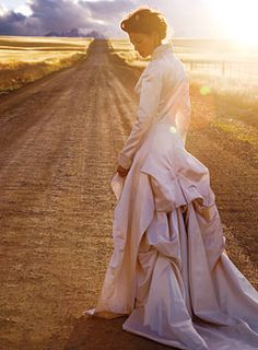 The Bridal Path  Posterior padding—the height of 19th-century fashion, even on the prairie—lives on, thanks to dramatically bustled skirts. This duchess...