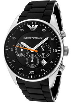 EMPORIO ARMANI GENTS SPORTIVO BLACK CHRONOGRAPH WATCH MODEL NO: AR5858   Classic black and stainless steel chronograph watch Black multi face dial with date window.