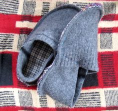 Cozy slippers made from an upcycled wool sweater that has been felted.  DIY instructable.
