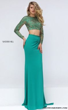 2016 Emerald Sherri Hill 32339 Beaded Two Piece Prom Dress