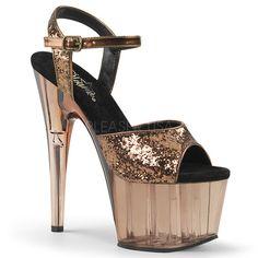df1a2e7e8e2 Pleaser ADORE-710GT Bronze Glitter Light Bronze Tinted ◈ Seductive Shoes UK  ◈ RalphCorbett