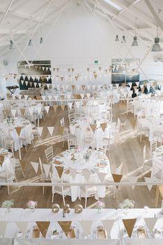 Chic & Stylish White & Craft Paper Wedding Bunting http://www.lisadevinephotography.co.uk/