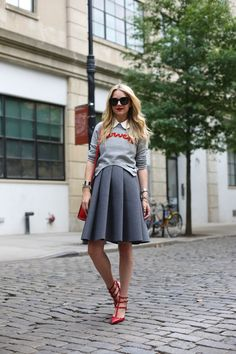 Street Style 2014, Street Style Summer, Fashion Sites, Fashion Models, Fashion Trends, Atlantic Pacific, Studded Heels, Sweater Outfits, Flare Skirt