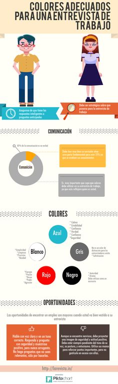 Colores adecuados para una entrevista de trabajo #infografia #infographic #empleo