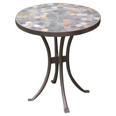 Bring rustic appeal to your patio or veranda with this charming slate side table, showcasing a slender curving base and mosaic-inspired top.