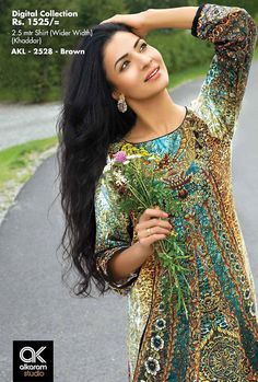 At ksabih.com - Pakistan's most Beautifull & Branded fabrics collections Available for you with Custom Stitching on your own Sizes see more designs & designer's collection.. http://goo.gl/tEPjrG