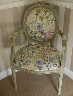 This lovely vintage French chair has been recently professionally reupholstered by us in this gorgeous spring hedgerow fabric.  This is an ideal