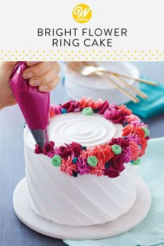 Topped with a crown of buttercream flowers, this any occasion cake can be used for birthdays, anniversaries, showers and so much more. Use a variety of drop flower tips and star tips to create a colorful ring of buttercream decorations that will make your Cake Decorating For Beginners, Easy Cake Decorating, Birthday Cake Decorating, Cake Decorating Techniques, Cake Birthday, Decorating Ideas, Colorful Birthday Cake, Buttercream Cake Decorating, Brithday Cake