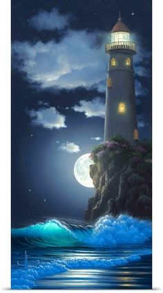 art prints Al Hogue Poster Print Wall Art Print entitled The Sentinel Wall Art Prints, Poster Prints, Lighthouse Painting, Lighthouse Pictures, Pictures To Paint, Scenery, Beautiful Pictures, Light House, Kid Rooms