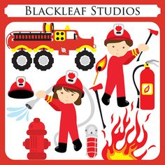 Fire Fighters fire engine boy girl by blackleafdesign on Etsy
