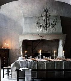 Gothic dining room.. I don't like the tablecloth though... iron that thing. Really!
