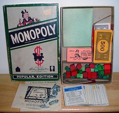 Vintage 1954 Parker Brothers Classic Monopoly Game Popular Edition
