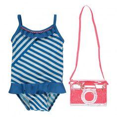 Frilled one-piece swimming costume Blue  Billieblush