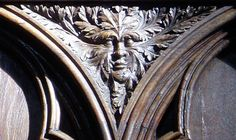A thirteenth-century Green Man carved on the wooden choir stalls of the Cathedral of St Peter in Poitiers, France. (padrepardo.eu)