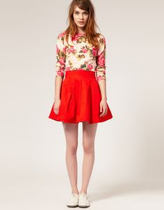 Want a fiery red/orange skirt to pair with dainty florals.