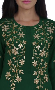 Emerald Green Hand Embroidered Gota Patti Kurta With Skirt