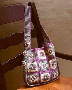 Crochet Handbags Ravelry: Beaded Squares Tote pattern by Dot Drake - Crotchet Bags, Bag Crochet, Crochet Shell Stitch, Crochet Handbags, Crochet Purses, Knitted Bags, Crochet Crafts, Crochet Granny, Free Crochet