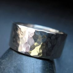 Hammered Sterling Silver Ring Band 8mm wide by reddaisydesigns, $26.00