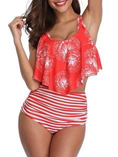 c92276df4 Bikini Swimsuit for Women High Waisted Swimsuits Tummy Control Two Piece  Tankini Ruffled Top with Swim
