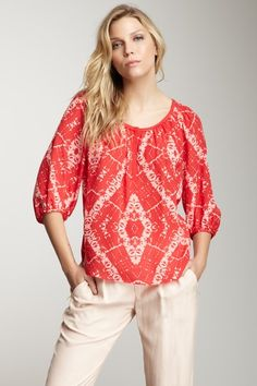 Batik Dyed Silk Blouse by Rebecca Taylor on @HauteLook