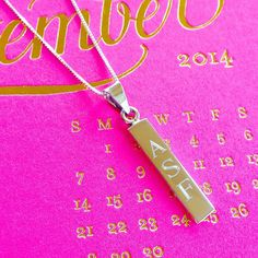 Our vertical bar necklace is on SALE during our Fall Style Event going on now! Engraved bar necklaces are on trend this season! Grab yours today and save 15% off your entire purchase with the code STYLE. #sale #monogramjewelry #monogramnecklace #threehipchicks
