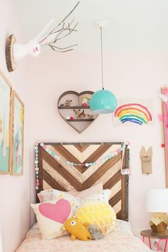Shared Girls Room Design Refresh by Lay Baby Lay via Honesttonod.com ....love the headboard!!