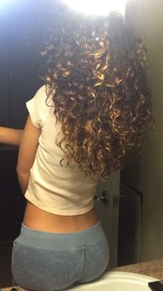 Brown blonde curls  hair.