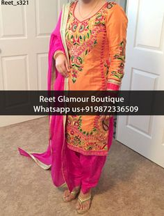 Smashing Orange And Magenta Embroidered Punjabi Suit Product Code : Reet_s321 To Order, Call/Whats app On +919872336509 We Offer Huge Variety Of Punjabi Suits, Anarkali Suits, Lehenga Choli, Bridal Suits,Sari, Gowns Etc .We Can Also Design Any Suit Of Your Own Design And Any Color Combination.