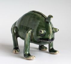 Handbuilt Ceramic Chameleon Sculpture Ceramic by midoritakaki