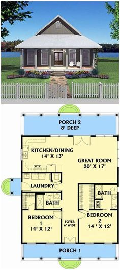 Guest House Plans 2 Bedroom Beautiful 392 Best 30 X 30 House Plan Images – modern courtyard house plans Guest House Plans, 2 Bedroom House Plans, Small House Floor Plans, House Plans One Story, Cabin Plans, Two Bedroom Tiny House, Building A Porch, Building A House, Building Design