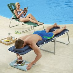 What! Lay out face down comfortably! At last, an ergonomic lounge chair that reduces tension in your back and neck!