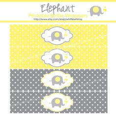 Chevron Elephant Baby Shower  Bottle  Wrappers  by whittlewhimsy, $4.00