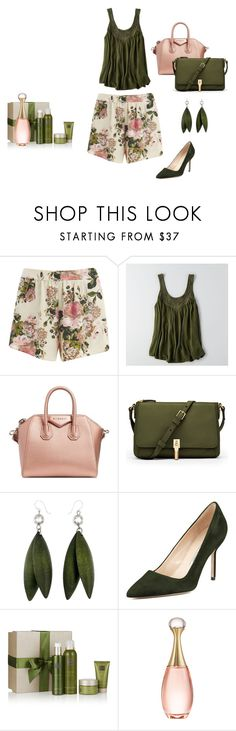"""""""Spring Shorts"""" by malathik ❤ liked on Polyvore featuring VILA, American Eagle Outfitters, Givenchy, Elizabeth and James, Manolo Blahnik, Rituals and Christian Dior"""