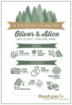 Woodsey Wedding Itinerary CUSTOMPRINT Forest by ArefinedDESIGN                                                                                                                                                     More
