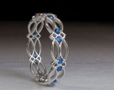 Celtic Ring - Eternity Ring - Sapphire Ring - Blue Stones ring - White Gold Ring - Something blue - texture - pattern - victorian - gothic