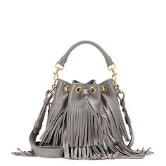 Saint Laurent - Small Bucket fringed leather tote - Hedi Slimane showcases his acute attention to detail with Saint Laurent's small but practical bucket bag. Tote the slick grey design by the top handle, or wear it cross-body with the detachable shoulder strap. The cool fringing will sway with each step. seen @ www.mytheresa.com