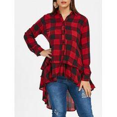 a80b9f7ddb0 Plus Size Tartan High Low Flounced Shirt - Red Wine 5x Plaid Spring Red  Wine