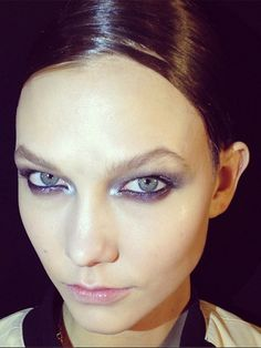 "DONNA KAREN The look: The amazing Charlotte Tilbury created the makeup on models including Karlie Kloss, pictured on Charlotte's Instagram page, where she described the focus of the look as ""gorgeously glossy, liquid silver, New York nights eye"". Wow."