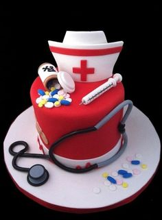 like this hat too, saying for RX bottle: Rx Burrell Drugs NURSE JEN Graduationprophen Take as needed for celebrating major milestones. (the graduation date works well here) Prescriber: The Burrell Family Fancy Cakes, Cute Cakes, Mini Cakes, Beautiful Cakes, Amazing Cakes, Fondant Cakes, Cupcake Cakes, Nursing Graduation Cakes, Medical Cake