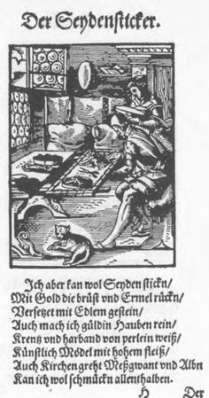 Fixed embroidery frame.  The Silk-Embroiderer, Das Ständebuch, 1568